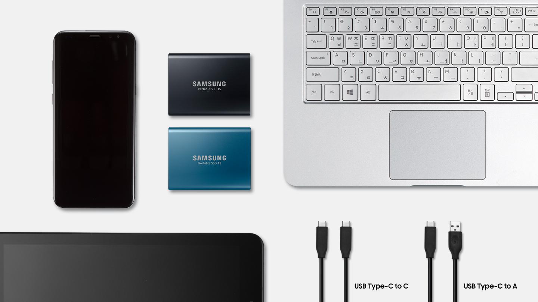 """""""Samsung"""" pristatė """"SSD T5"""" – itin greitą ir patikimą nešiojamą diską"""