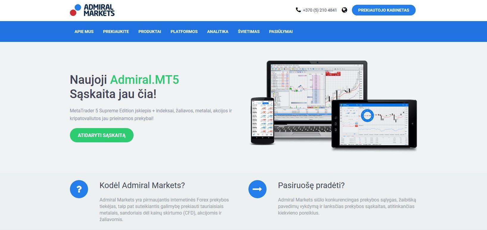 """""""Admiral Markets"""" atnaujina su MT5 platforma susijusį prekybos pasiūlymą"""